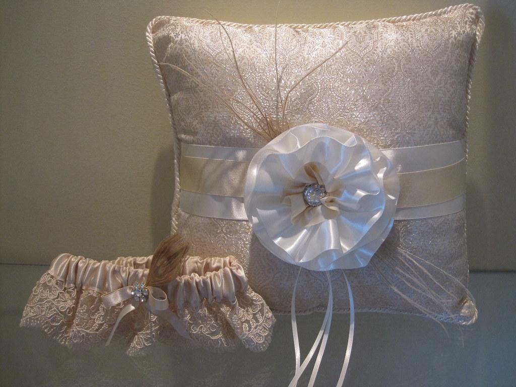 dramatic couture ringbearer pillow, flowergirl basket, guestbook , garter