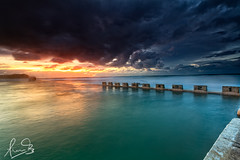 Merewether Baths (sachman75) Tags: morning beach water clouds sunrise newcastle dawn waves wideangle numbers blocks rockpool firstlight canon1740mmf4 oceanbaths merewetherbaths 5dmark2 canon5dmarkii singhrayreversendgrad3stops
