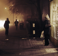 The one of those days... (Che-burashka) Tags: urban mist london weather fog night shopping women documentary suburbs 400d katianosenkocheburashkajulyassignment