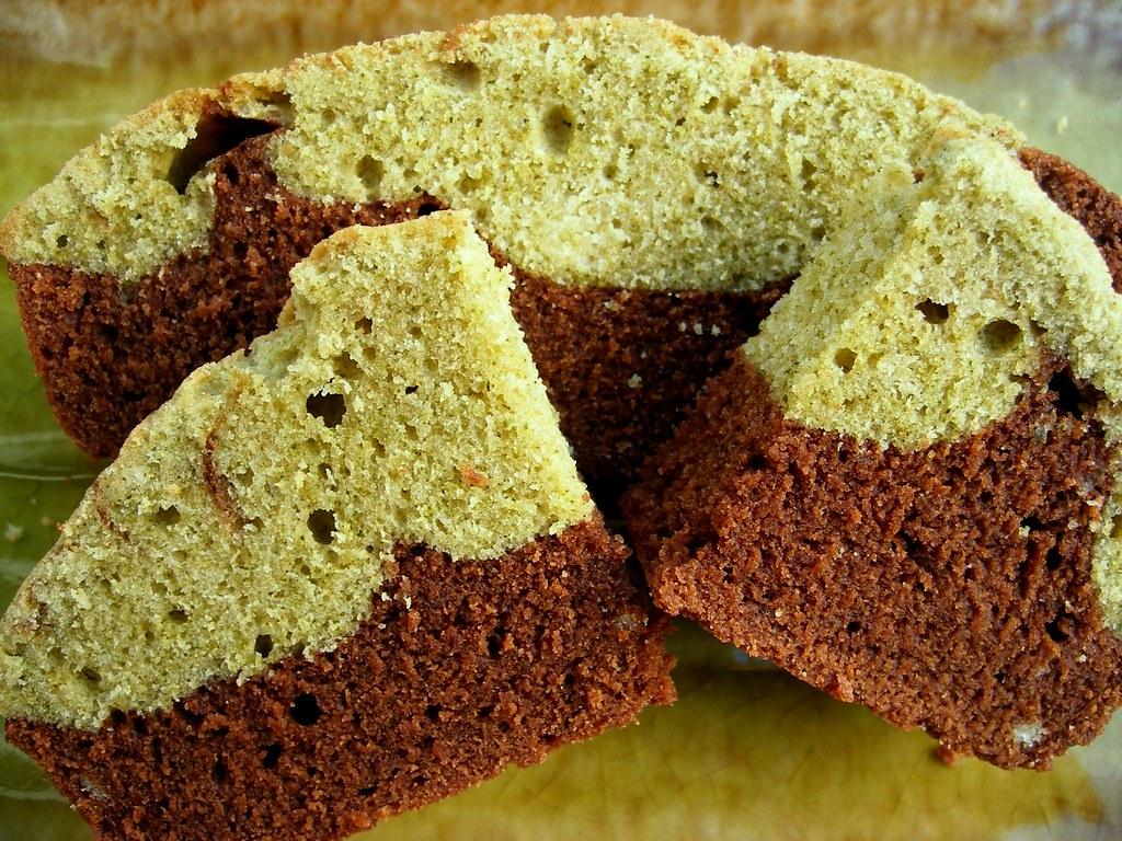 Green tea (Matcha) Chocolate bread sliced