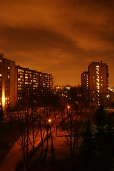 Balcony view #3 (Szift) Tags: park trees night clouds buildings lights star krakw cracow krakoff sonyalphadslra200