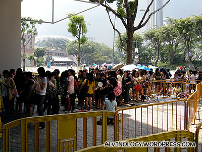 Fans braving the morning rain, queued early to get good seats