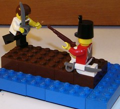Pirate Vrs. Brit (kojman47) Tags: soldier fight dock lego pirate british brit brickarms