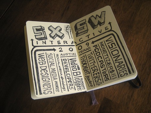 SXSWi moleskin notebook sketch