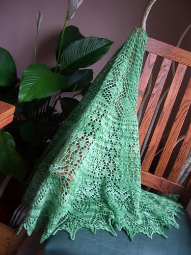 Vernal Equinox shawl finished-2-half circle shawl, ~ 70x32 inches