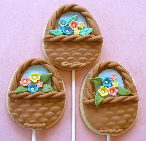 Easter Flower Basket Cookie Pops
