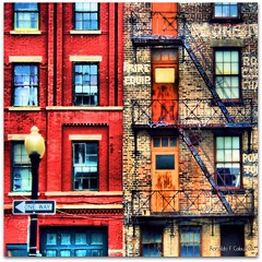 Rent (Ronaldo F Cabuhat) Tags: street windows red ny newyork building texture abandoned stairs canon photography doors apartment balcony bricks staircase oneway walls rent albanyny canoneosdigitalrebelxti pinoykodakero cabuhat