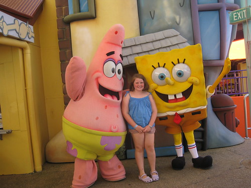 Amy with Patrick and Spongebob