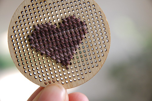 Heart cross stitch pendant