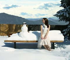 cool friends (ha!photography) Tags: selfportrait snow mountains tree girl sunglasses scarf fence bench landscape snowman autoretrato skirt blizzard coolfriends haphotography