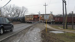 Southbound Canadian Pacific transfer train crossing West Lake Avenue. Glenview Illinois. Febuary 2009.
