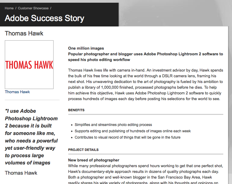 Thomas Hawk on Adobe.com