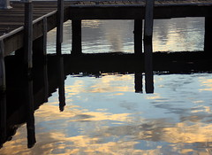 Cloudy lake (Lady Jayne ~) Tags: sunset lake reflection pier australia nsw 40d squidsink