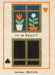 co je hez? (Max Friedrich Hartmann) Tags: flowers abstract window illustration hearts nice graphics czech comparison easterneurope beautification czechoslovakian matchboxlabels solosuice sn494705