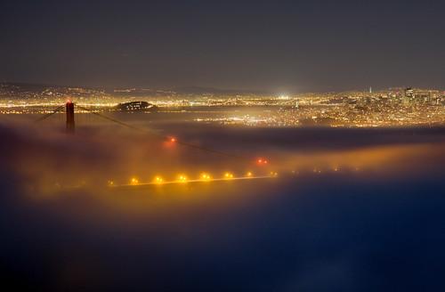 golden gate bridge at night. Golden Gate Bridge night fog