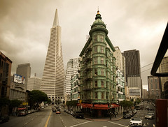 American Architecture (Wade Griffith) Tags: sanfrancisco california streets green architecture clouds buildings studio restaurant office cafe downtown pyramid wine 10 foggy overcast wideangle bistro financialdistrict explore rainy francisfordcoppola desaturated transamerica columbustower sentinelbuilding zeotrope nikond80 wadegriffith2010