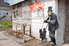 Banksy - New Orleans (theotherchristianlundberg) Tags: street art hat graffiti stencil nikon paint top south neworleans ghost gray banksy spray lincoln abe hobo meloncholy d80 homelsss abreham