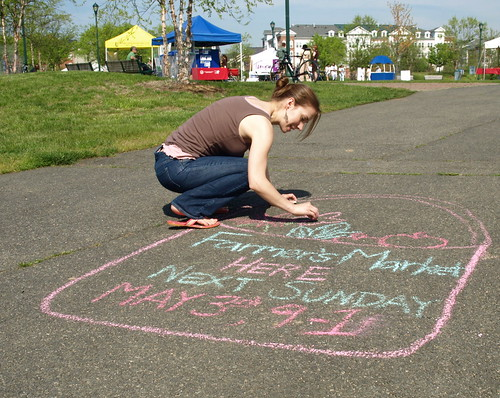 sidewalking chalking for the farmers market opening