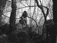 Volunteering Is Fun. (B.Riordan.) Tags: trees light white black girl branches cleanup volunteer bushes gnarled