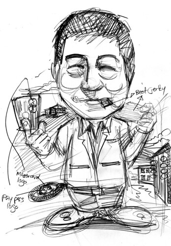 Caricature sketch of Mastercard  Mr Willie Fung (sketch 1)