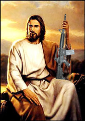 Jesus with military rifle
