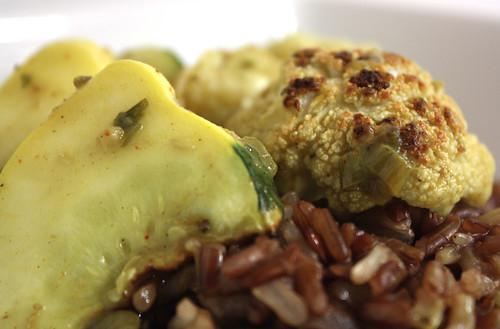 Detail Cauliflower and squash in Rhubarb Curry