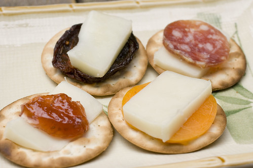goat mozzarella on crackers