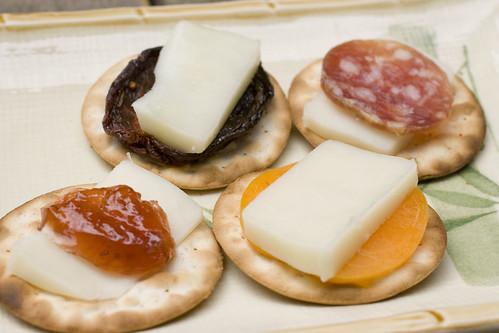 goat mozzarella on crackers