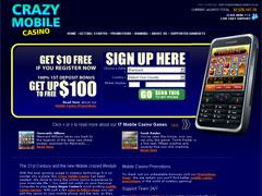 Crazy Vegas Mobile Casino Lobby