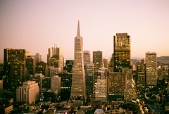 Cityscape with Transamerica Pyramid (La Branaro) Tags: sanfrancisco california from city urban usa building tower film landscape 1 smithsonian twilight san francisco downtown cityscape fuji view pyramid dusk superia district olympus business 35mmfilm 400 coittower transamerica om photocontest superia400 financial om1 modernarchitecture coit viewfromcoittower sanfranciscolandmark architecturalicon smithsonianchannel aerialamerica