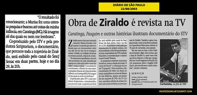 """""""Obra de Ziraldo é revista na TV"""" - Diário de São Paulo - 22/08/2003"""