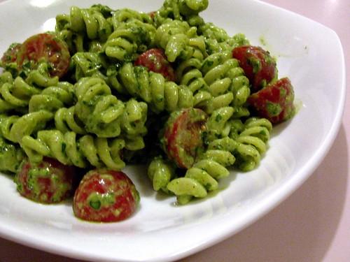 Pasta Salad with Almond Spinach Pesto