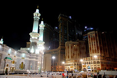 The Two Worlds  - Makkah (friend_faraway - In Yemen) Tags: building skyscraper hotel islam middleeast saudiarabia pilgrimage mecca pilgrim mekah makkah masjidilharam nightimagearchitecture