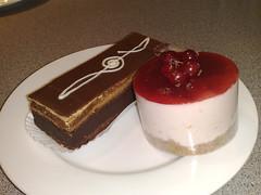 Coffee opera and raspberry cheesecake from La Cerise, Leith, Edinburgh