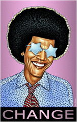 Barack Obama - Change (Ben Heine) Tags: stella wallpaper portrait usa haircut streetart black celebrity art colors smile smart sunglasses ink print poster fun star office illinois noir peace senator teeth famous president politics whitehouse fame ken barbie fake tie kitsch pop popart capitol fox irony violence change politician elegant copyrights sourire pleasure poll rococo clever jesuschrist capitole brillen nobelprize toile popularity controversial pointillism eyecatching lunettesdesoleil barackobama cheveux barby superficial jacksonfive politicalart prsidence cravatte changement clbre benheine barackhusseinobama afghanistanwar superficiel 44thamericanpresident infotheartisterycom