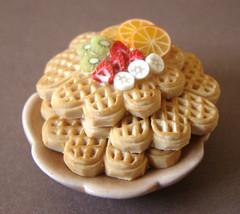 Miniature Waffle Stack (PetitPlat - Stephanie Kilgast) Tags: cakes fruits fruit pancakes handmade polymerclay waffles crepes dollhouse dollshouse miniaturefood oneinchscale petitplat