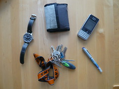 What's in my bag? (Michal Kluc, Xampik) Tags: mobile pen self bag keys nokia key phone whats wallet flash watch disk wrist pilot archimede 3230 flashdisk