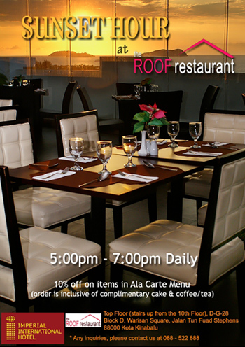 Sunset Hour @ The Roof Restaurant Flyer