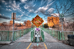 Footbridge in London Ont (Scott.Webb) Tags: bridge sunset sky urban ontario canada london clouds wooden spring nikon dynamic footbridge path vibrant signage highdynamicrange hyperreal d300 hdrphotography urbanhdr wwwurbanhdrcom