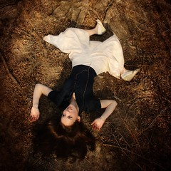 under the dreaming tree (ha!photography) Tags: selfportrait tree girl shoes autoretrato ground skirt layingdown aerialperspective navyshirt haphotography