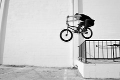 Josh Shaw. (fbmpw) Tags: b bw white black bike bicycle tampa bay bmx florida w bikes rail josh explore hop ybor shaw kink railhop