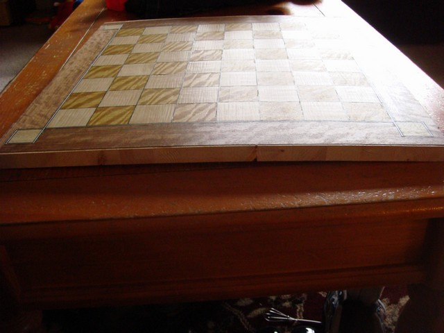Chess Board backing cupped while glue set up.