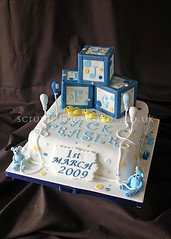 Christening Cake (467) - Building Blocks (Scrumptious Cakes (Paula-Jane)) Tags: blue white cakes yellow cake plaque train balloons square ducks christening ribbon dots teddies bluewhite buildingblocks christeningcake dundeescotland 2tier scrumptiouscakes