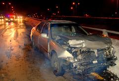 Best friends. (Lindsay FitzGerald) Tags: car night honda accord highway crash smoke flash engine police wreck wichita 96