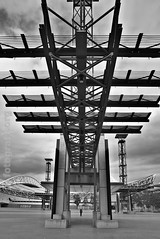 open gate (fotografX.org) Tags: park street plaza city blackandwhite bw building monochrome sport blackwhite stadium australia nsw olympia newsouthwales sw olympic australien stadion syd schwarzweiss olympicpark dri hdr downunder portjackson schwarzweis sydney2000