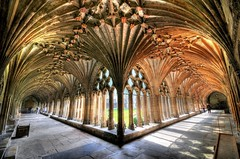 Canterbury Cathedral Cloister (5ERG10) Tags: uk light england church sergio architecture photoshop garden vanishingpoint kent nikon arch shadows cathedral unitedkingdom interior gothic perspective cell arches canterbury symmetry chiesa ornament monks h
