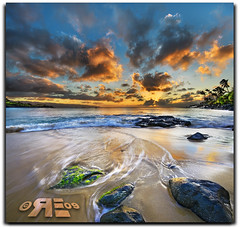 Typical Hawaiian Sunset (Ryan Eng) Tags: ocean sunset sun motion water clouds hawaii moss sand rocks oahu northshore dri sigma1020mm waimeabeach digitalblending nikond90 vertorama ryaneng