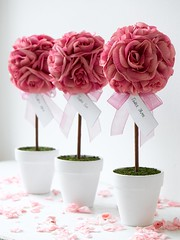 Rose Topiary Trees (Confetti.co.uk) Tags: pink wedding decorations black bird butterfly garden table heart lace cage confetti sweetie buffet weddings enchanted settings favours