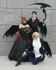 Sakura + Kurogane + Fye, Tsubasa Reservoir Chronicle (cosplay shooter) Tags: anime comics costume comic cosplay manga leipzig reservoir fantasy convention sakura cosplayer fye 2009 chronicle rollenspiel buchmesse tsubasa cosplayers roleplay trc shion lbm kurogane leipzigerbuchmesse kirashiranui klayrdegall 7000z shi0n x201210