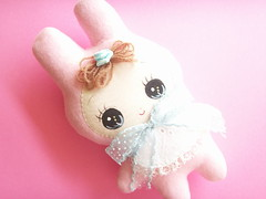 Kawaii Japanese Handmade Bunka Doll Baby Bunny Pink Rabbit Plush Retro Girly Japan (Kawaii Japan) Tags: pink cute rabbit bunny japan felted toy japanese doll handmade girly sewing craft felt plush collection stuff kawaii ribbon fleece collectibles crafting needlecraft dollart craftstuff dollartist bunkadoll dollcreator